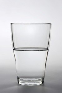 close up shot of an half full water glass